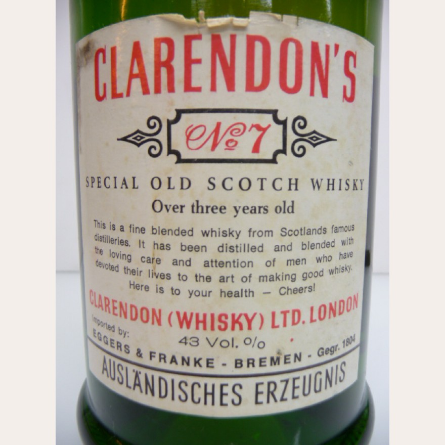 Clarendon's No. 7 Blended Scotch aus den 60er Jahren 43% 4cl Probe